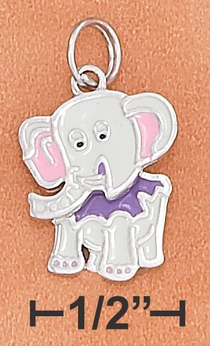 STERLING SILVER RP 14X16MM ENAMEL ELEPHANT CHARM WITH MOVEABLE HEAD & BODY