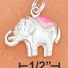 STERLING SILVER ROUNDED 14X18MM LUCKY ELEPHANT CHARM