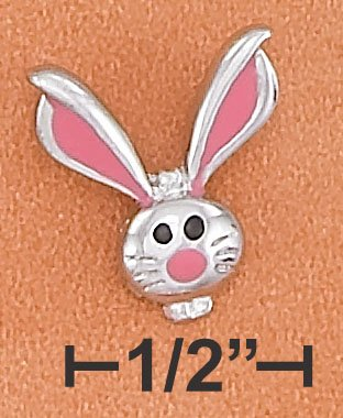 STERLING SILVER HP RABBIT HEAD CHARM W/ PINK ENAMEL HIGHLIGHTS
