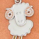 STERLING SILVER RP 13X17MM ENAMEL BIG HORN SHEEP CHARM