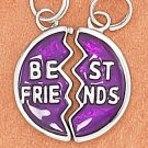 "STERLING SILVER RP 16MM ROUND 2 SIDED ENAMEL ""BEST FRIENDS"" MIZPAH CHARM"