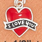 "STERLING SILVER ENAMEL 12MM RED FLAT HEART CHARM W/ BLACK ""I LOVE YOU"" BANNER"