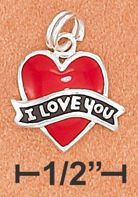 "STERLING SILVER ENAMEL 12MM RED FLAT HEART CHARM W/ BLACK ""I LOVE YOU"" BANNER"