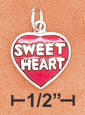 "STERLING SILVER 11MM FLAT ENAMEL RED HEART CHARM WITH ""SWEETHEART"" ON BOTH SIDES"