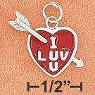 "STERLING SILVER ENAMEL ""I LUV U"" 12MM HEART WITH ARROW"