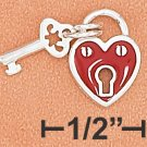 STERLING SILVER 2 SIDED ENAMEL 9MM HEART LOCK WITH KEY CHARM (2 PIECES)