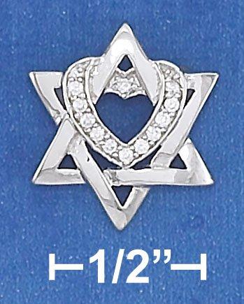STERLING SILVER 16 X 18MM STAR OF DAVID PENDANT W/ CLEAR CZ HEART