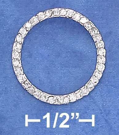 STERLING SILVER 18MM OPEN CIRCLE PENDANT W/ 1MM CLEAR CZ'S
