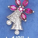 STERLING SILVER 16 X 22MM CLEAR CZ & HP BELL CHARM W/ SYNTHETIC RUBY FLOWER TOP