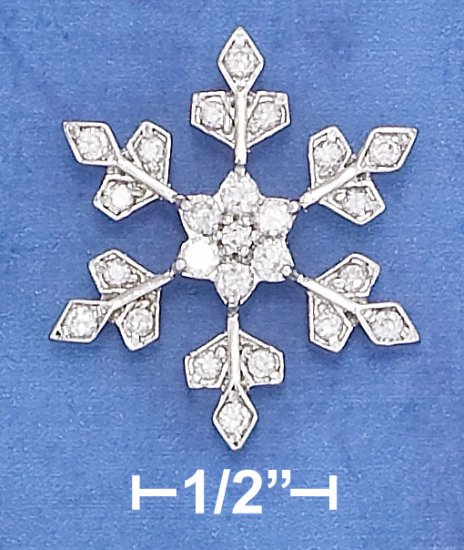 STERLING SILVER HP 27MM CZ SNOWFLAKE PENDANT