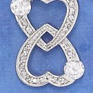 STERLING SILVER RP 15MM WIDE PAVE DOUBLE HEARTS LOVE FOREVER PENDANT W/ 4MM CZ'S