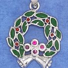 STERLING SILVER 18MM RED & GREEN ENAMEL WREATH CHARM
