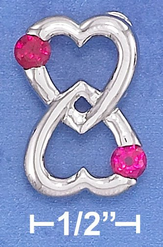 STERLING SILVER  15MM WIDE DBL HEART LOVE FOREVER PENDANT W/ SYNTHETIC 4MM RUBYS