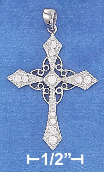 STERLING SILVER 21 X 27MM POINTED TIP CROSS PENDANT