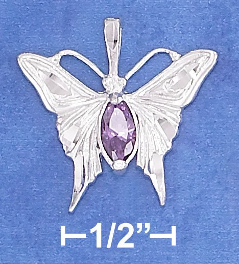 STERLING SILVER HP DC 21MM BUTTERFLY PENDANT ON 18 IN SNAKE CHAIN