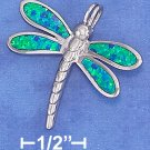STERLING SILVER DRAGONFLY PENDANT W/LAB OPAL INLAY/18 IN CHAIN