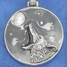 STERLING SILVER 32MM ENAMELED DISK W/ ANTQDCOYOTE/MOON/STARS /18IN CHAIN