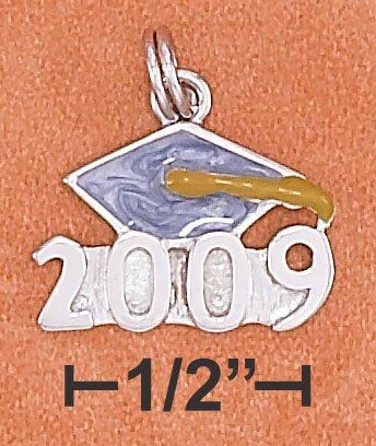 "STERLING SILVER ENAMEL ""2009"" GRADUATION CAP CHARM"