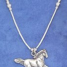 "STERLING SILVER 16"" HP LS CHOKER W/ ANTIQUED RUNNING HORSE AND SILVER BEADS"