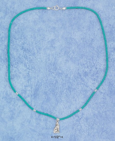 "STERLING SILVER 16"" CHOKER WITH OCEAN BLUE PONY BEADS AND CENTER WOLF PENDANT"