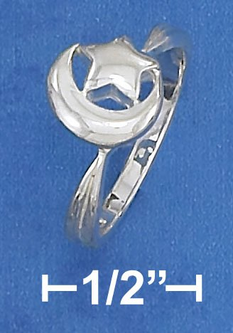 STERLING SILVER HP 9MM HP CRESCENT MOON AND  STAR RING
