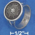 STERLING SILVER HP 15MM WIDE SPLIT SHANK RING WITH ROUND AZTEC CALENDAR.