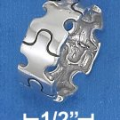 STERLING SILVER HP 8MM WIDE PUZZLE PIECE BAND RING