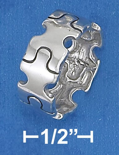 STERLING SILVER HIGH POLISH 8MM WIDE PUZZLE PIECE BAND RING .