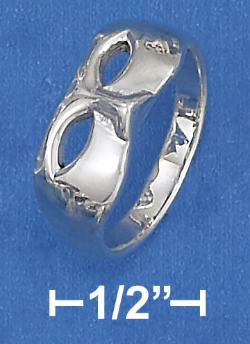 PRETTY STERLING SILVER HIGH POLISH MASK RING.