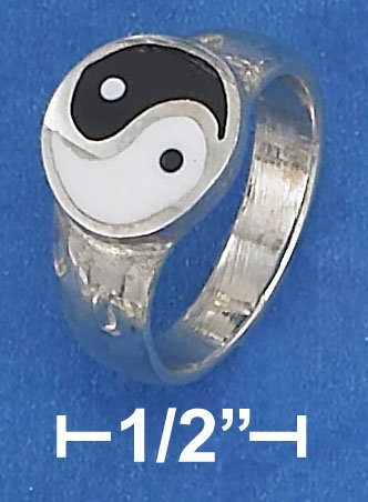 STERLING SILVER HIGH POLISH 10MM ROUND YIN YANG ENAMEL RING