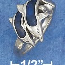 BEAUTIFUL STERLING SILVER DOUBLE JUMPING DOLPHINS RING WITH PAUA SHELL INLAY.