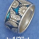 STERLING SILVER 11MM BUTTERFLIES AND FLOWERS WITH BLUE ENAMEL BACKGROUND BAND.