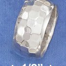 STERLING SILVER  HAMMERED 10MM WIDE WEDDING BAND.
