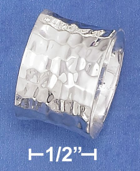 STERLING SILVER 15MM CONCAVED HAMMERED RING.