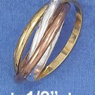 STERLING SILVER 14K GP 2MM TRIPLE BAND TRI-COLOR SLIDE RING