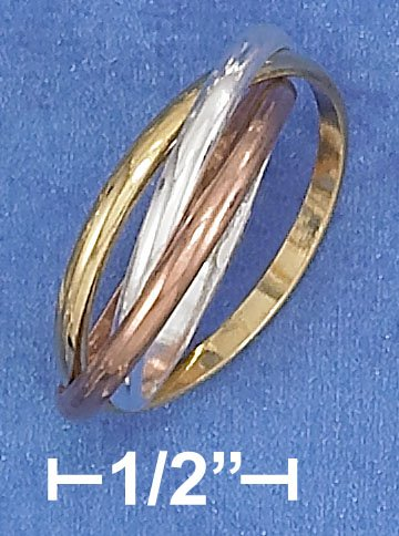 STERLING SILVER 14K GP 2MM TRIPLE BAND TRI-COLOR SLIDE RING.