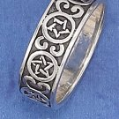 STERLING SILVER 7MM ANTIQUED CONTINUOUS PENTACLE AND SCROLLS BAND.