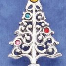 STERLING SILVER CHRISTMAS TREE W/ COLORED CRYSTAL ORNAMENTS PIN/PENDANT