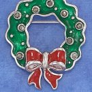 STERLING SILVER 29 X 35MM GREEN ENAMEL & MARCASITE WREATH PIN