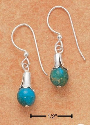STERLING SILVER ELEGANT TURQUOISE BEAD EARRINGS ON FRENCH WIRES