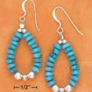STERLING SILVER BLUE TQ RONDEL BEAD LOOP FW EARRINGS