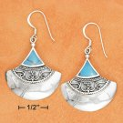 STERLING SILVER FANNED BALI TURUOISE INLAY EARRINGS