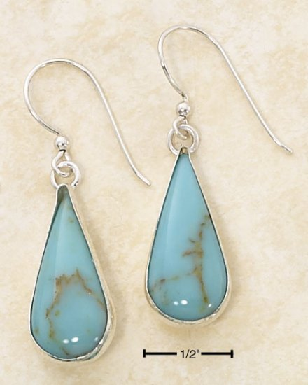 STERLING SILVER MEDIUM  TURQUOISE  TEARDROP FRENCH WIRE EARRINGS