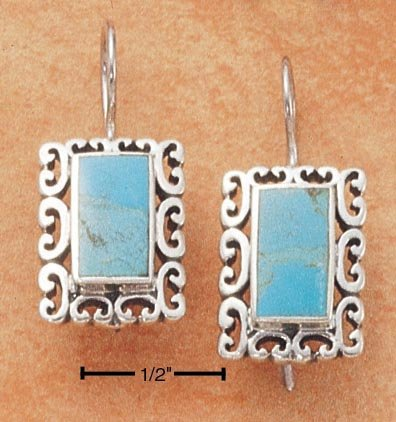 STERLING SILVER RECT TURQUOISE W/ SCROLL BORDER EARRINGS
