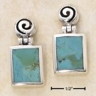 STERLING SILVER SQUARE HINGE DANGLE TURQUOISE EARRINGS