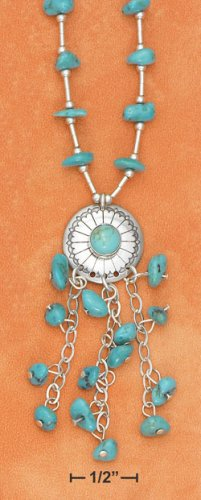 "GORGEOUS STERLING SILVER 16""   TURQUOISE NUGGET ""Y"" NECKLACE"