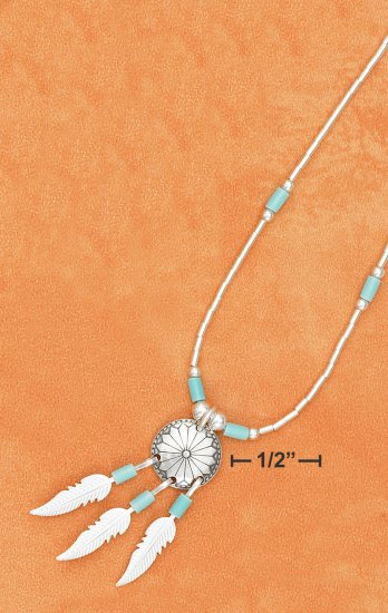 """STERLING SILVER 16"""" TURQUOISE HESHI BEAD CONCHO NECKLACE W/ FEATHERS"""