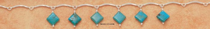 "STERLING SILVER 17"" CURVED BAR LINK NECKLACE W/ SIX DIAMOND SHAPE TURQUOISE DANGLES"