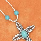 "STERLING SILVER 16""-18"" ADJ LIQUID SILVER W/ TURQUOISE BEAD & CROSS DANGLE NECKLACE"