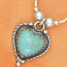 "STERLING SILVER 16"" LIQUID SILVER NECKLACE W/ TURQUOISE HEART & SS BEADS"